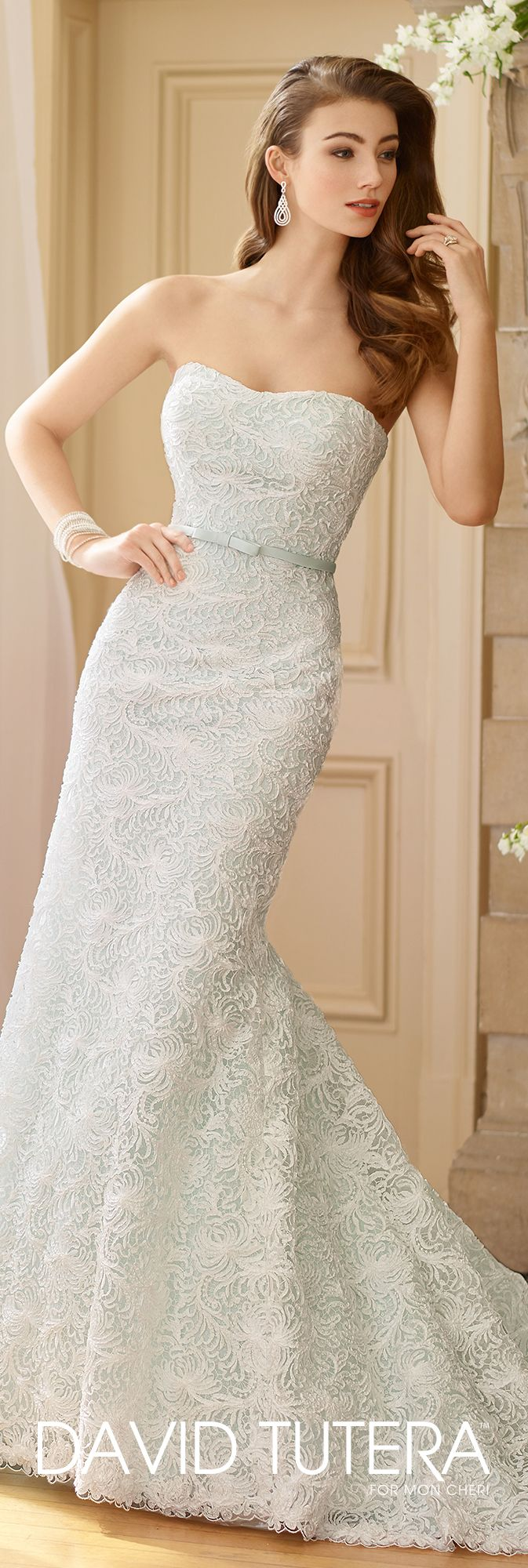 David Tutera for Mon Cheri Fall  2017 Collection - Style No. 217216 Lottie - strapless embroidered lace and sequin over satin fit and flare wedding dress in Diamond White/Mist