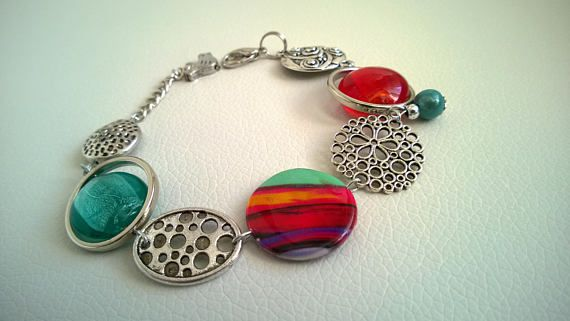 FREE SHIPPING  Asymmetric bracelet Red and turquoise