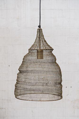 Crochet Lamp - Cone - Matt Gold