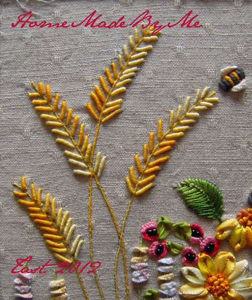 Bullion knot stitch wheat Great use of this stitch