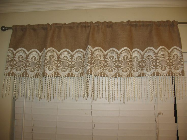 Home Decor Burlap Valance Kitchen Valance Burlap W/Lace Vintage Top Rod  Curtain Valance Natural Burlap Embroidered Lace Decorated