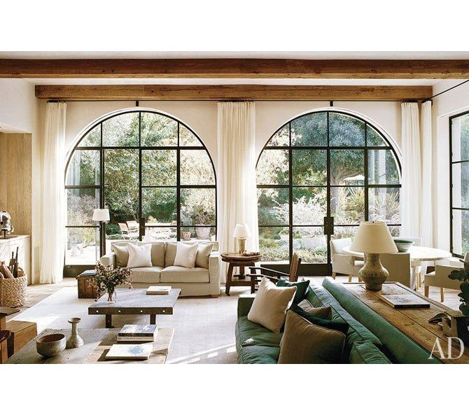 Love the windows!: Decor, Doors, Big Window, Living Rooms, Dreams, Arches Window, Window Treatments, Steel Window, Families Rooms