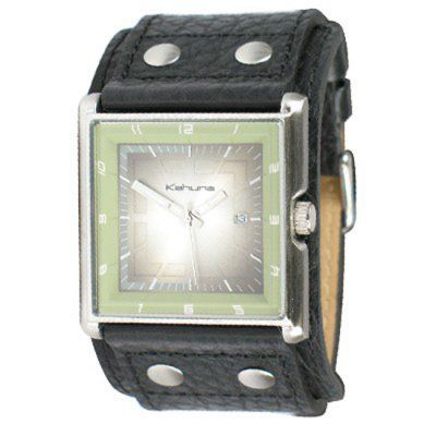 Kahuna - Men\'s Black Leather Cuff Square Dial Watch - KUC-0009G - RRP: £44.95 - Online Price: £37.50