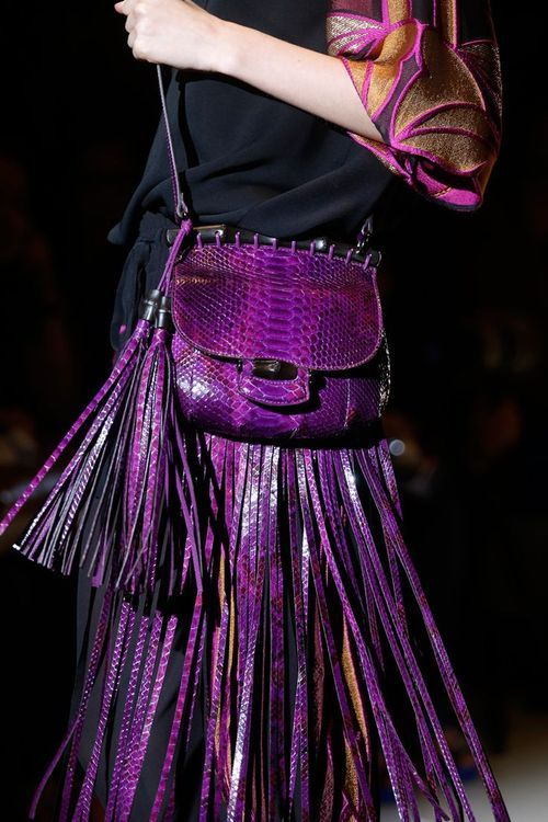 Purple fringed bag from Gucci S/S 2014