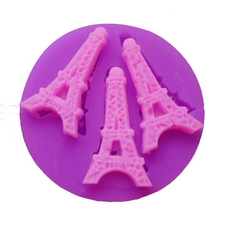 Diy 3d de silicona del molde 3 Mini torre Eiffel en forma de decoración de pasteles de Chocolate caramelo moldeo herramientas P185(China (Mainland))
