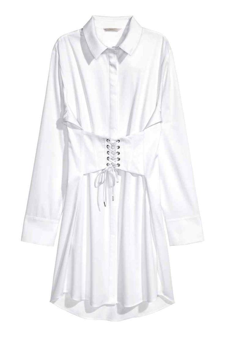 コットンロングシャツ - ホワイト - レディース | H&M JP
