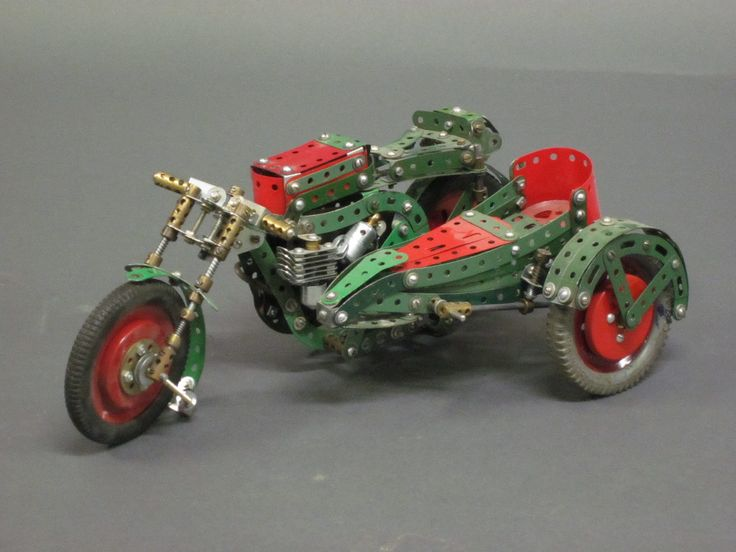 """A green and red Meccano model of a motorcycle and sidecar 14"""" ILLUSTRATED"""