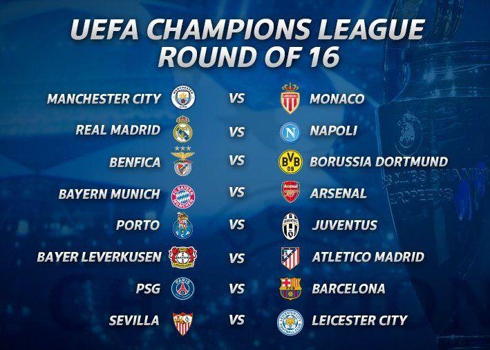 Jadwal Pertandingan Babak 16 Besar Liga Champions 2016/17