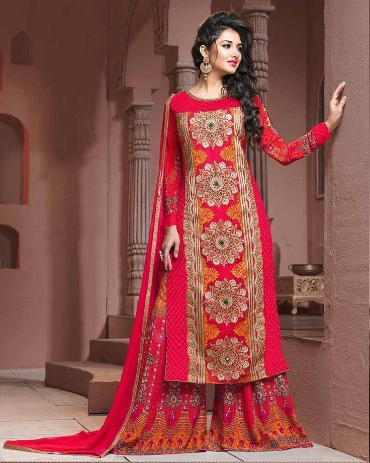 The allure of your simplicity pops out as you dress up in this enchanting pink coloured georgette palazzo style suit for women #womensfashion #palazzosuit