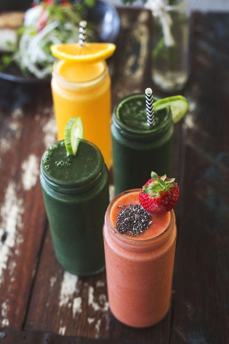 Green smoothie, Strawberry smoothie and fresh OJ. Belongil Bistro in Byron Bay serves the best drinks!