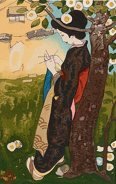 By Yumeji Takehisa (1884-1934), early 20th c., The Sun, Woodblock print.