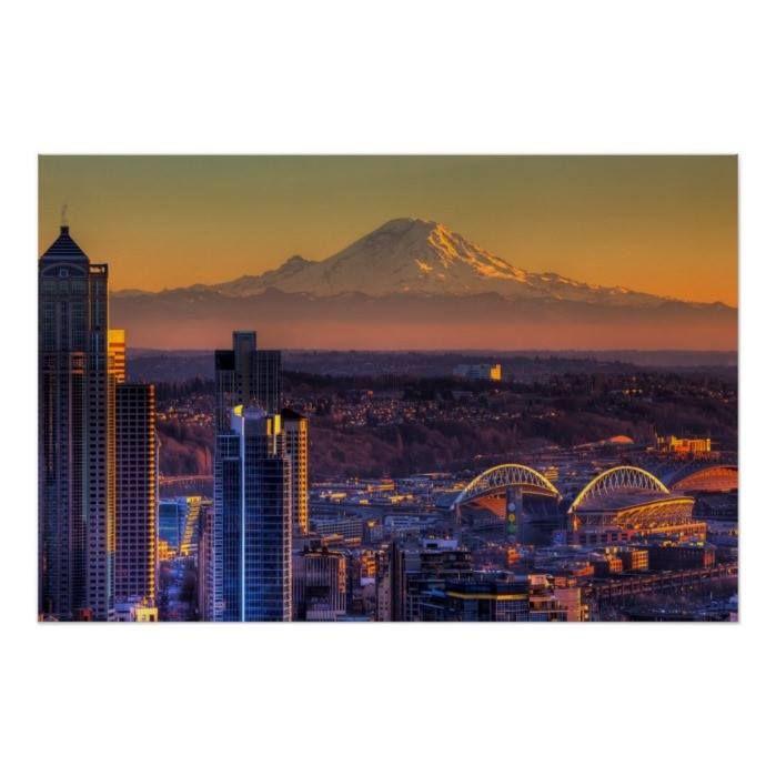 Downtown#D   #Dusk #Horizontal #Majestic #Modern #Mt Rainier Romantic Sky - Seattle Skyline Tranquil#Scene Washington state -Angle Cityscape view of Seattle downtown