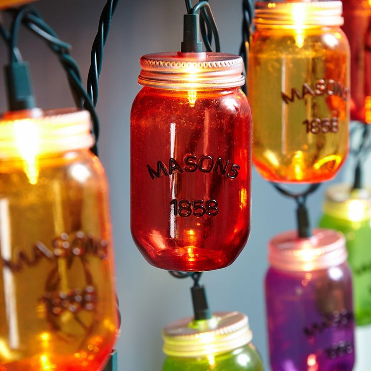 Canning Jar String Lights : Colorful Mason Jar Outdoor String Lights