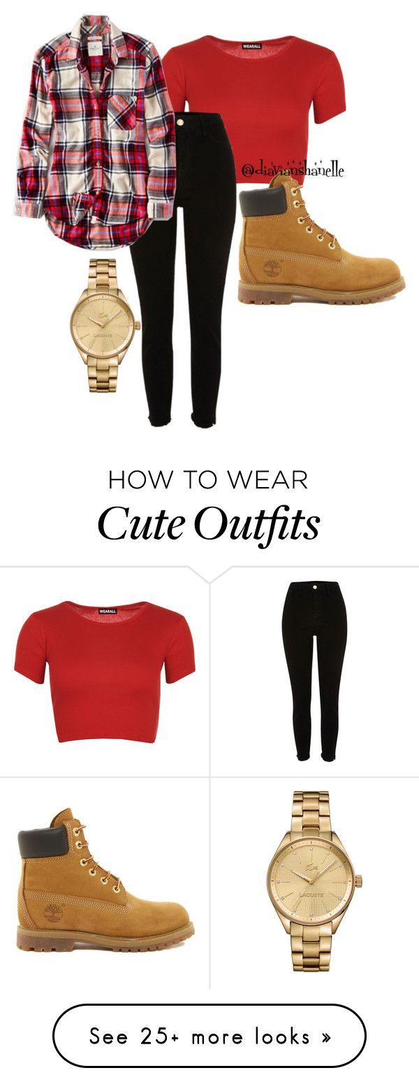 """""""Cute Outfit"""" by diavianshanelle on Polyvore featuring WearAll, American Eagle Outfitters, Timberland, Lacoste and flannel"""
