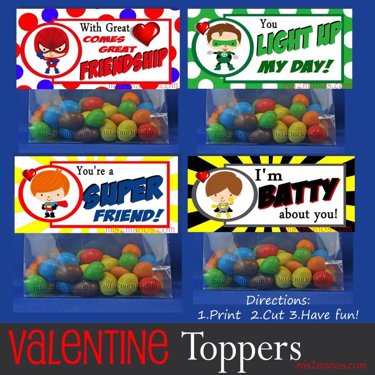 Valentine  Superhero Comic Book Favor Bag Toppers - Candy Bag Mpnster  Printable Print At Home Instant Download by M2MPartyDesigns on Etsy https://www.etsy.com/listing/177123103/valentine-superhero-comic-book-favor-bag