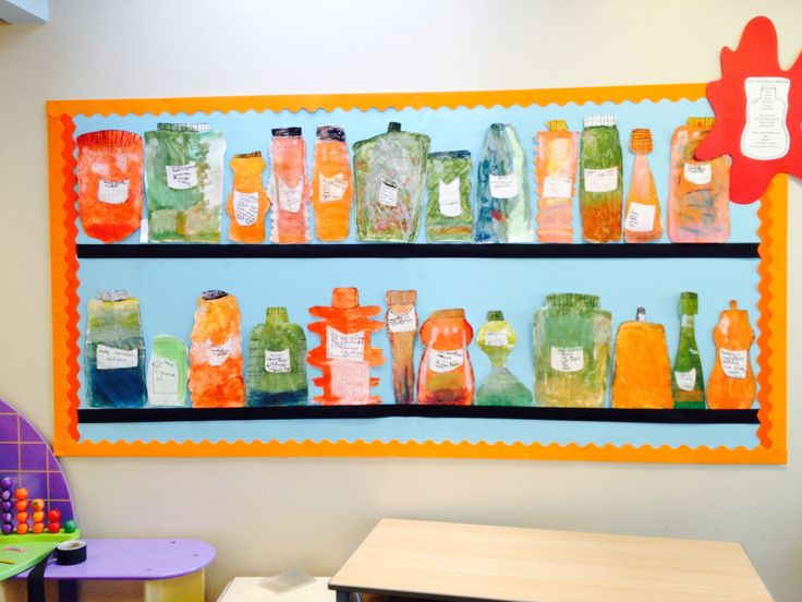 George's marvellous medicine bottles! We looked at different bottle shapes, drew them out & Kids mixed orange or green paint. Finished off with white pastel highlights and black pen for lids.