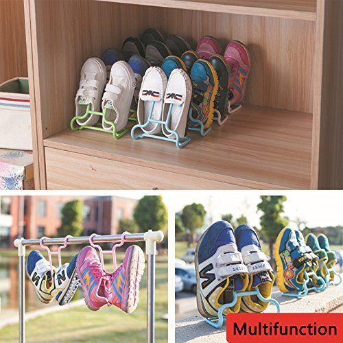 Multifunzione Colorful Hanging Bambini Scarpe essiccazione Hanger Storage Rack organizzatore per armadio--asciugatura e 2in 1 2Pcs/1Set