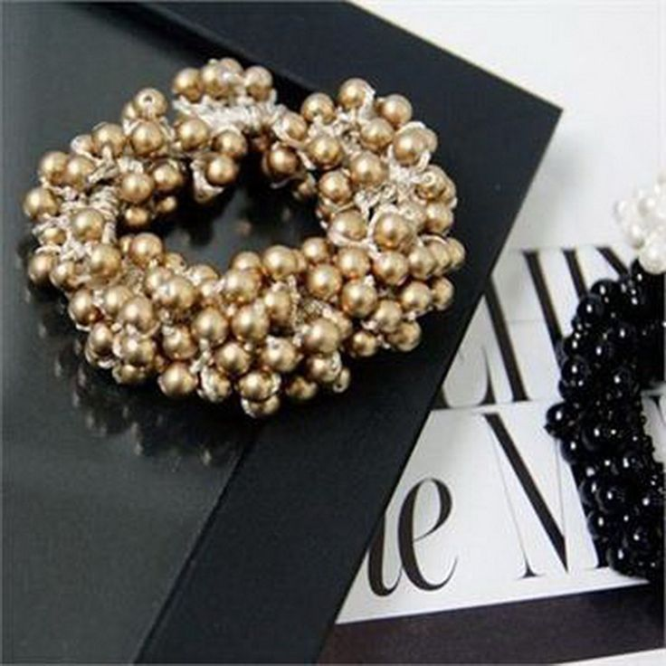 1 PCS Fashion Women Pearls Beads Hair Band Rope Scrunchie Ponytail Holder Elastic Hot Hair Band Accessories (Gold) -- You can find out more details at the link of the image.