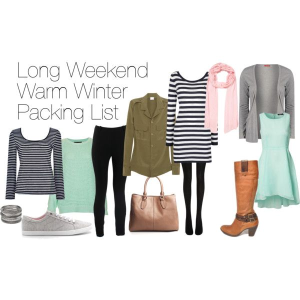 """Long Weekend Warm Winter Packing List"" by laceandbuckles on Polyvore"