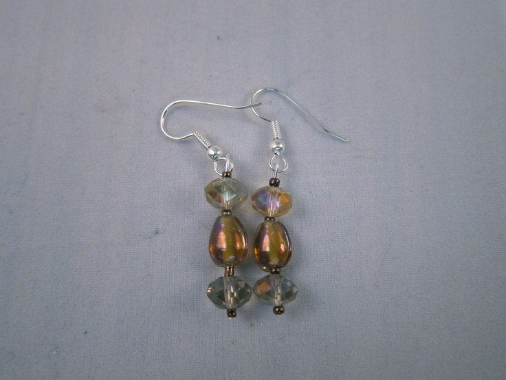 Gold iridescent and crystal beads.