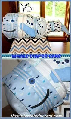 Whale Diaper Cake - Adorable idea for a baby shower