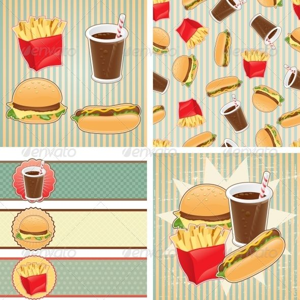 Retro Backgrounds with Fast Food.  #GraphicRiver         Zip file contains fully editable EPS8 RGB vector file and high resolution pixels RGB Jpeg image. EPS File made using gradients. It does not contain transparency, blends, meshes. File does not contain foreign objects such as outside assets, brushes, symbols, fonts, images or other resources. Objects in the file are distributed by organized layers.     Created: 19March13 GraphicsFilesIncluded: JPGImage #VectorEPS Layered: No…