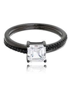 anel solitario rodio negro prata 925 semi joias de luxo