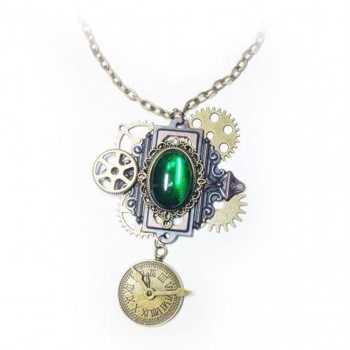 Длинный кулон ожерелье стимпанк, цепочка с подвеской часы передач. Ручная работа!