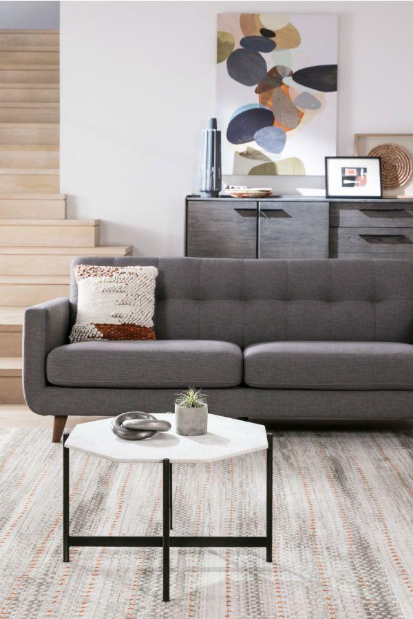 Allie Dark Grey Sofa Trendy Living Rooms Mid Century Modern