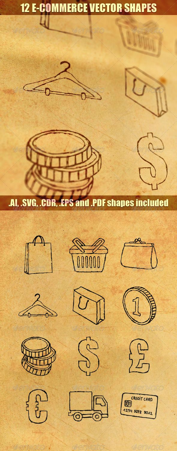 12 E-Commerce Vector Shapes  #GraphicRiver         Inludes 12 hand-drawn .ai, .svg, .cdr, .eps, and .pdf vector shapes.  	 Any file format is fully customizable and editable. Originally shapes were created in InkScape and then converted to all mentioned formats. Any shape is made as a one element that is fully scalable and can be use for printing or websites. You can change the color of shapes. Any shape is placed in different file.  	 .AI and .EPS were converted to work with CS3 or higher…