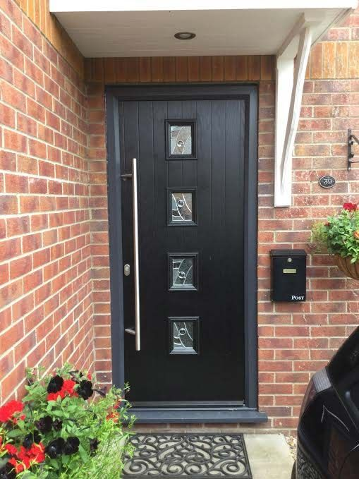 4 Square Style Composite Door In Black With Grey Frame And