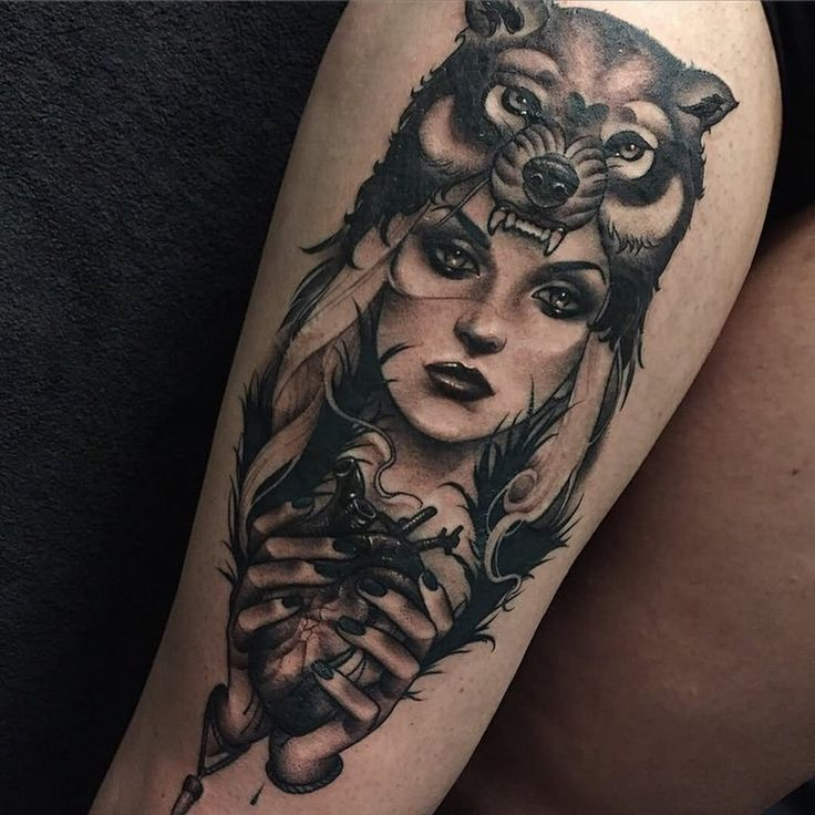 Black-And-Grey-Wolf-Girl-Tattoo-On-Thigh-by-Brokenpuppet.jpg (1024×1024)