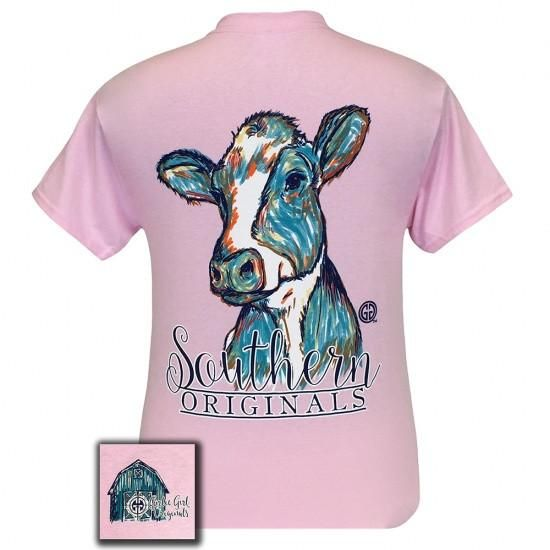 Details: Every Southern girl will love our Southern Originals Water Color Cow! This tee is a classic fit, pre-shrunk jersey knit tee, made of 6-ounce 100% cotto