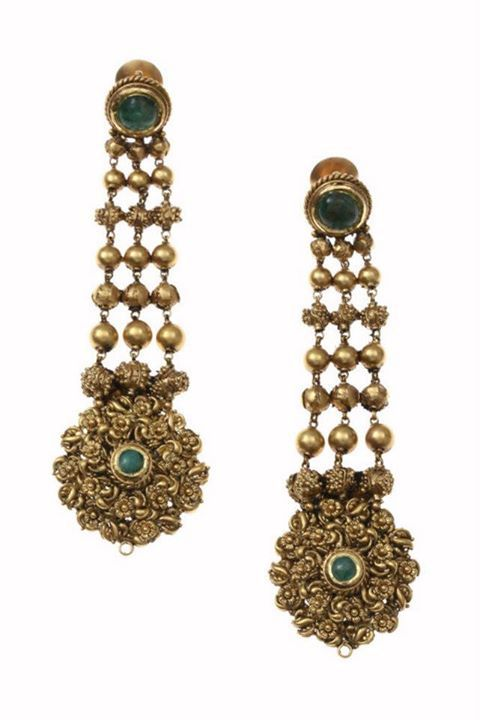 Antique finish gold earrings