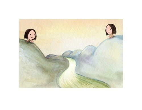 distant friends  cute girls sisters living away by TummyMountain, $25.00