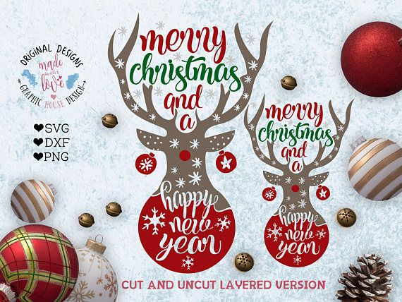 Merry Christmas and a Happy New Year Deer SVG Merry Christmas and a Happy New Year Cut File and Printable in SVG, DXF, PNG. Deer svg.