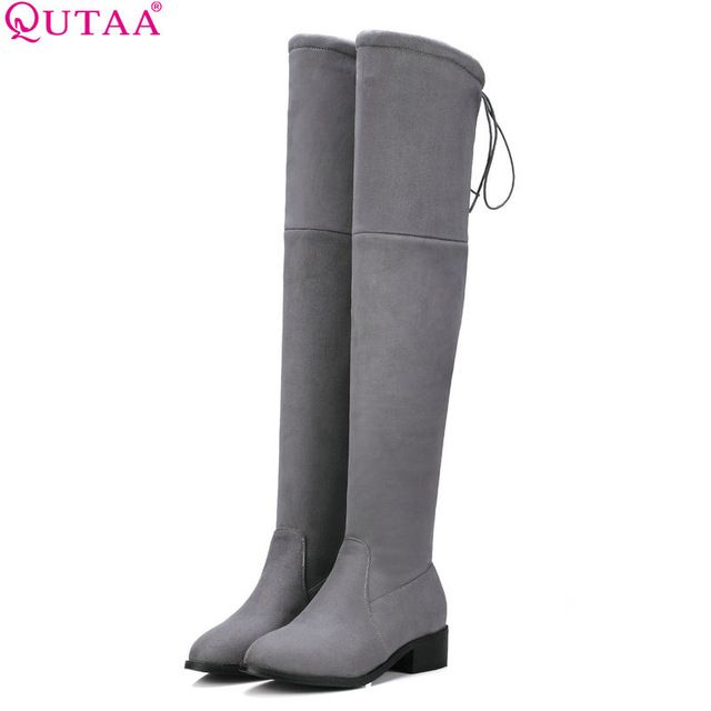 Check it on our site QUTAA 2017 Square Low Heel Woman Stretch Fabric Over The Knee Boots Women Shoes Winter Ladies Motorcycle Boots Size 34-43 just only $28.85 with free shipping worldwide  #womenshoes Plese click on picture to see our special price for you