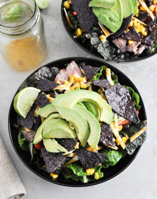Tequila Lime Flank Steak Fajita Salad with Chile Lime Vinaigrette I ...