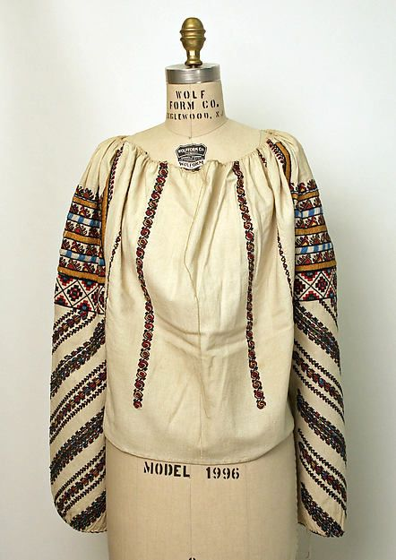 Romanian Blouse / ie / la blouse roumaine . . . Date: 1800–1943. . . Culture: Romanian . . . Medium: cotton. . . Dimensions: [no dimensions available]. . . Credit Line: Gift of Mr. Beaumont Newhall, 1943