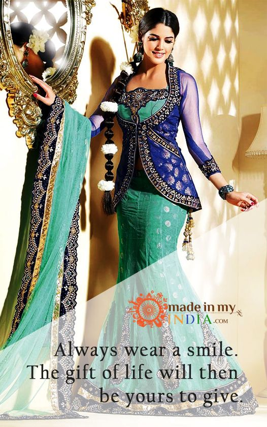 Always wear a smile .The gift of life will then be yours to give.  Check Out Awesome Ethnic Lehenga Collection with trending designs @ www.madeinmyindia.com Made with love in #India  #madeinmyindia #made #with #love #india #ethnic #Wear #fashion #clothing #unique #handcrafted #suits #kurtis #lehenga #Sarees #Bridal #partywear #embroided #wedding #manymore #designclothing #fashionclothing #trends #bollywood