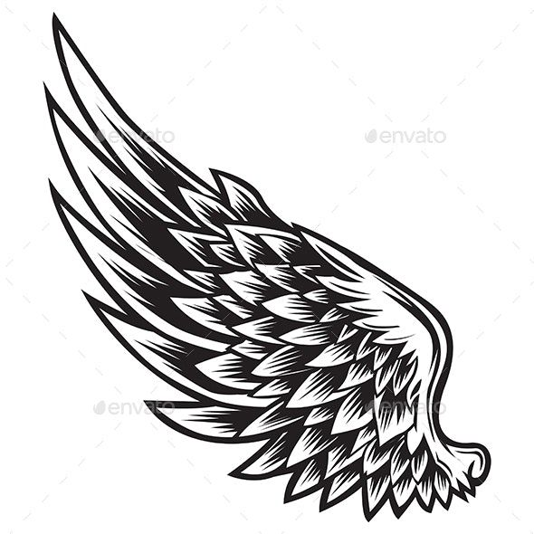Wings Bird Black White Vector By Sathitpong Graphicriver Wing Tattoo Designs Wing Tattoo Small Wing Tattoos