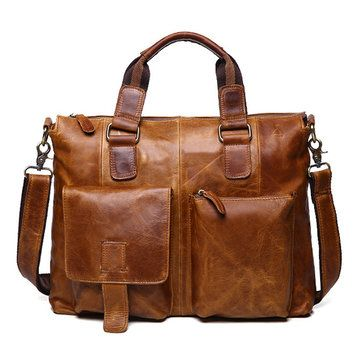 Genuine Leather Crossbody Bag Retro Dual-Use Big Capacity Handbag For Men