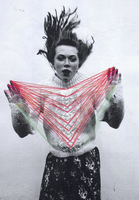 Maria Aparicio of Santiago, Chile collaborates with photographers – adding unexpected visual elements with needle and thread