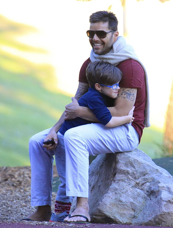 Ricky Martin and his son.