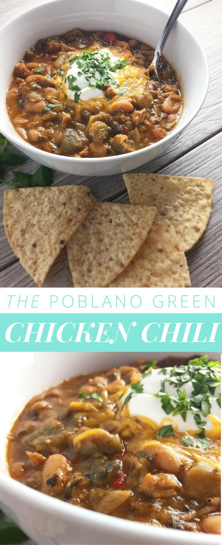 THE poblano green chicken chili — This comforting chili is packed with layer after layer of flavor. Smoky roasted peppers and garlic mingle with rich tomatillos, silky beans and tender chicken for a complex but familiar flavor. Poblano peppers, known best for chiles rellenos, lead the way with soft, savory heat.