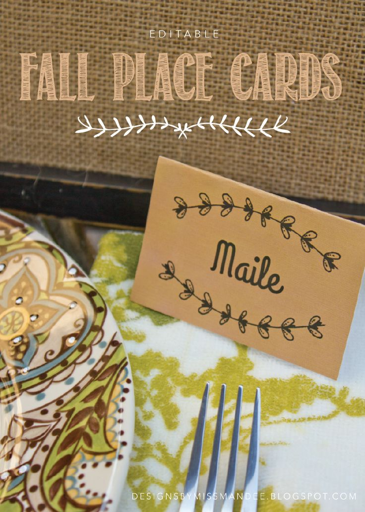 Editable Fall Place Cards. So cute! Perfect for your Thanksgiving meal :D