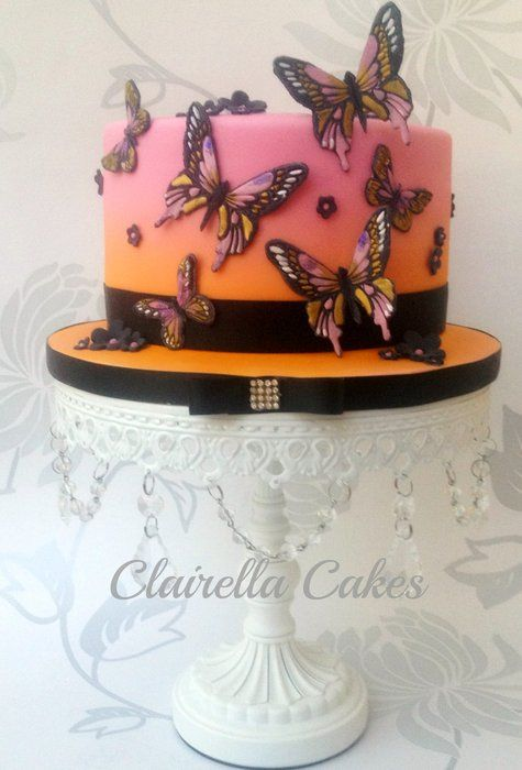 Pink Sunset Butterfly Cake - by ClairellaCakes @ CakesDecor.com - cake decorating website