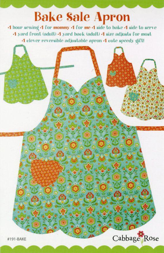 Sale- Apron Pattern Mom & Me, Bake Sale Apron 191BAKE Cabbage Rose, Adult Apron Pattern, Childs Apron Pattern, Reversible Full Apron Pattern