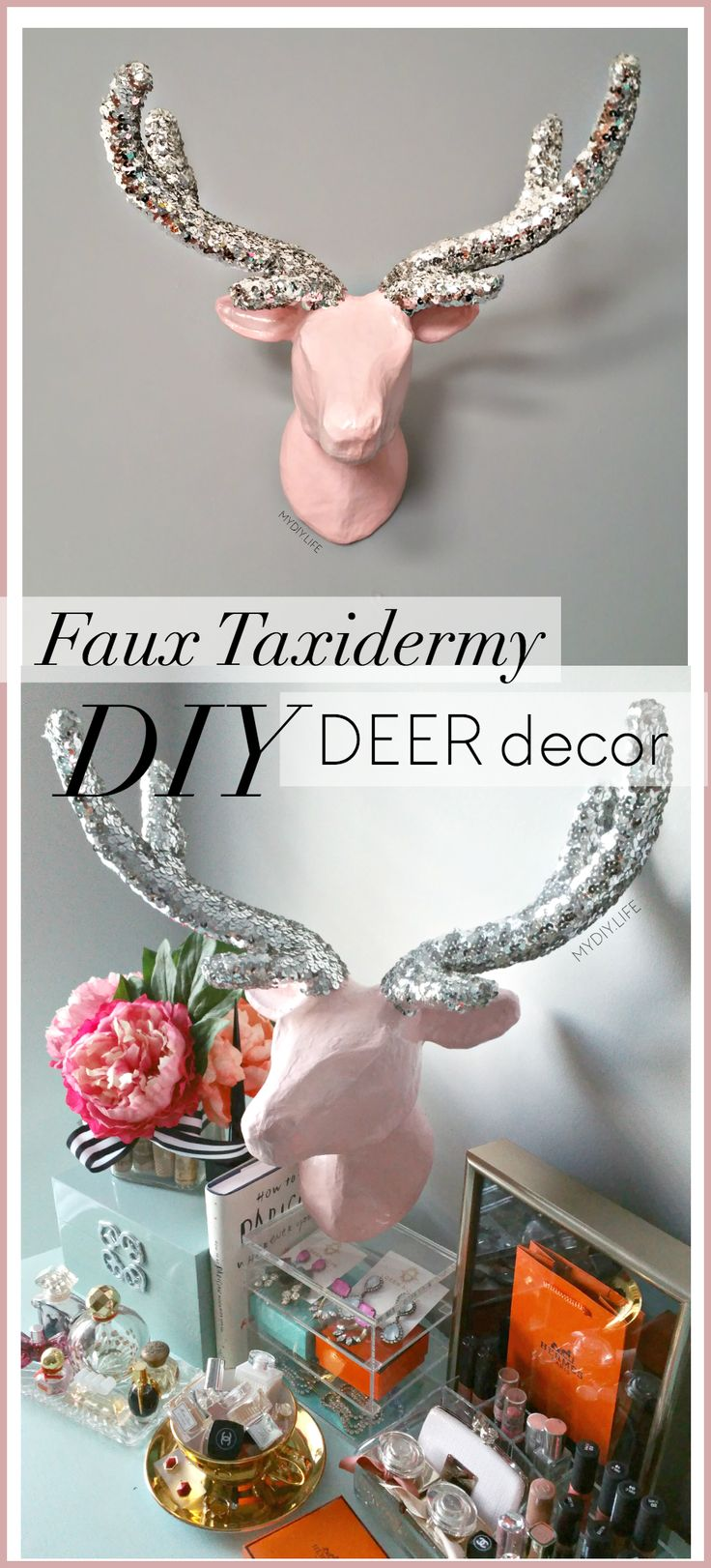 DIY faux taxidermy Deer Head decor tutorial