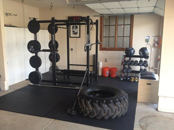 The fully equipped Rogue garage gym is super nice. Go Rogue Fitness! Great photo